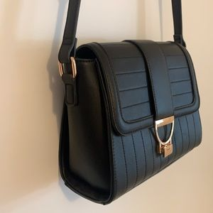 GORGEOUS Black Leather Gold Colette Bag with Strap